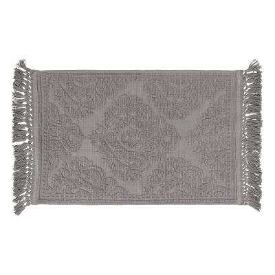 Ricardo Cotton Fringe 21 in. x 34 in. Bath Rug in Dark Grey