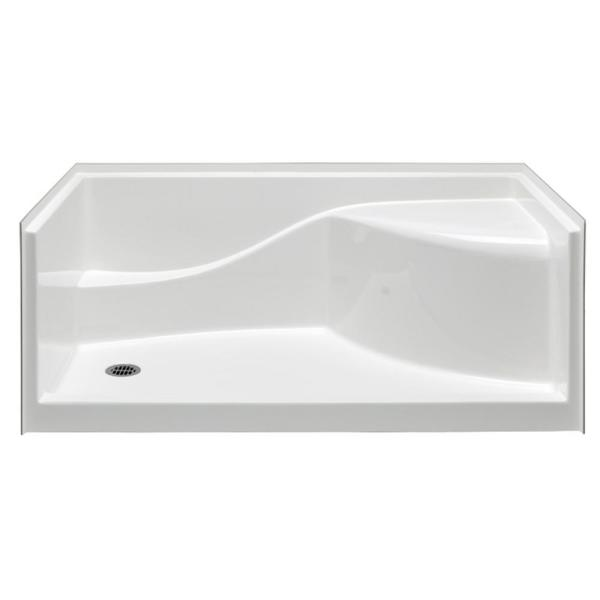 Coronado 60 in. x 30 in. Single Threshold Left Drain Shower Pan in White with Built-In Shower Bench
