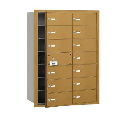 3600 Series Gold Private Front Loading 4B Plus Horizontal Mailbox with 14B Doors (13 Usable)