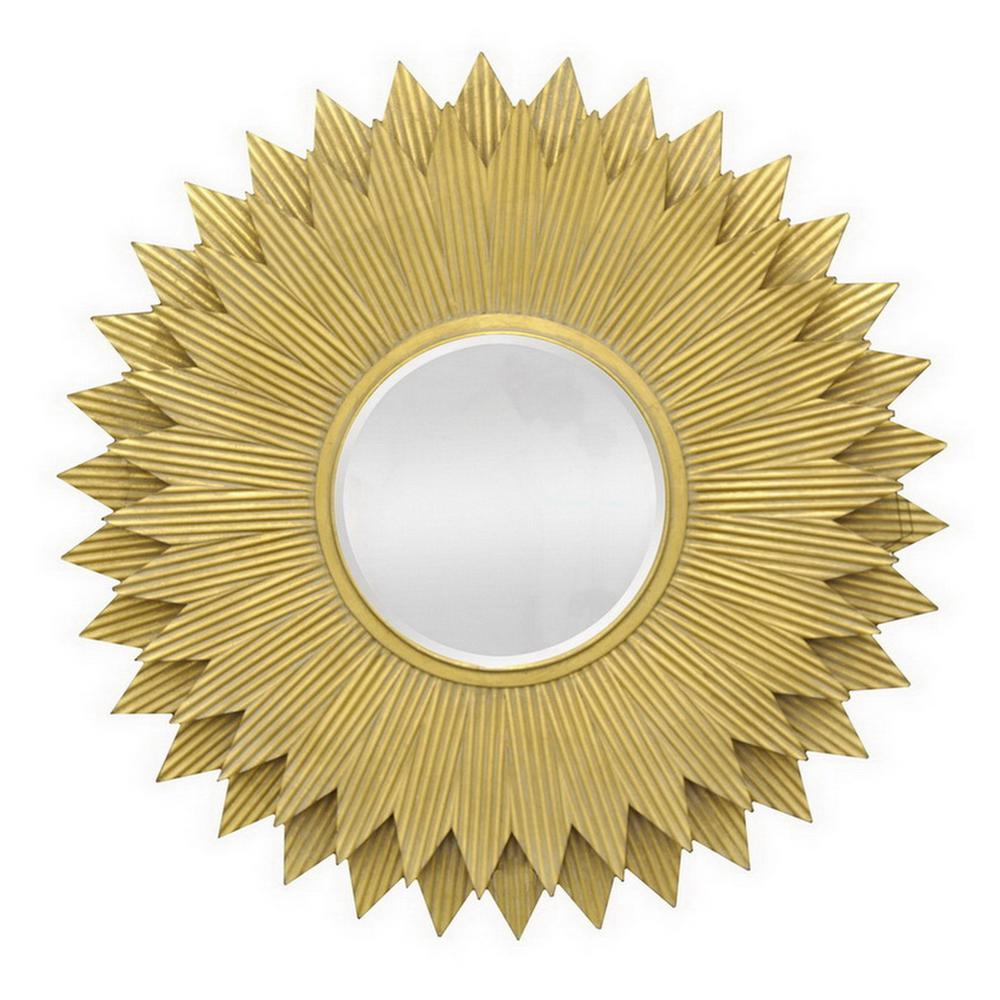 THREE HANDS 42 in. Wood Wall Mirror Beveled in Gold-89990 - The Home ...