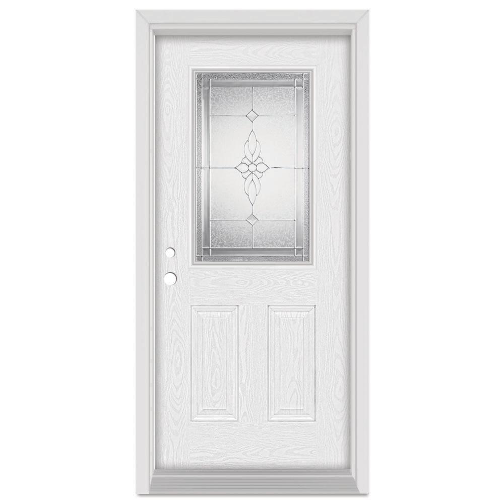 33.375 in. x 83 in. Victoria Right-Hand 1/2 Lite Zinc Finished Fiberglass Oak Woodgrain Prehung Front Door Brickmould