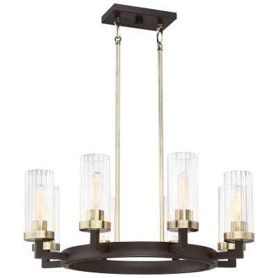 Ainsley Court 8-Light Aged Kinston Bronze with Brushed Brass Highlights Chandelier with Clear Glass Shade