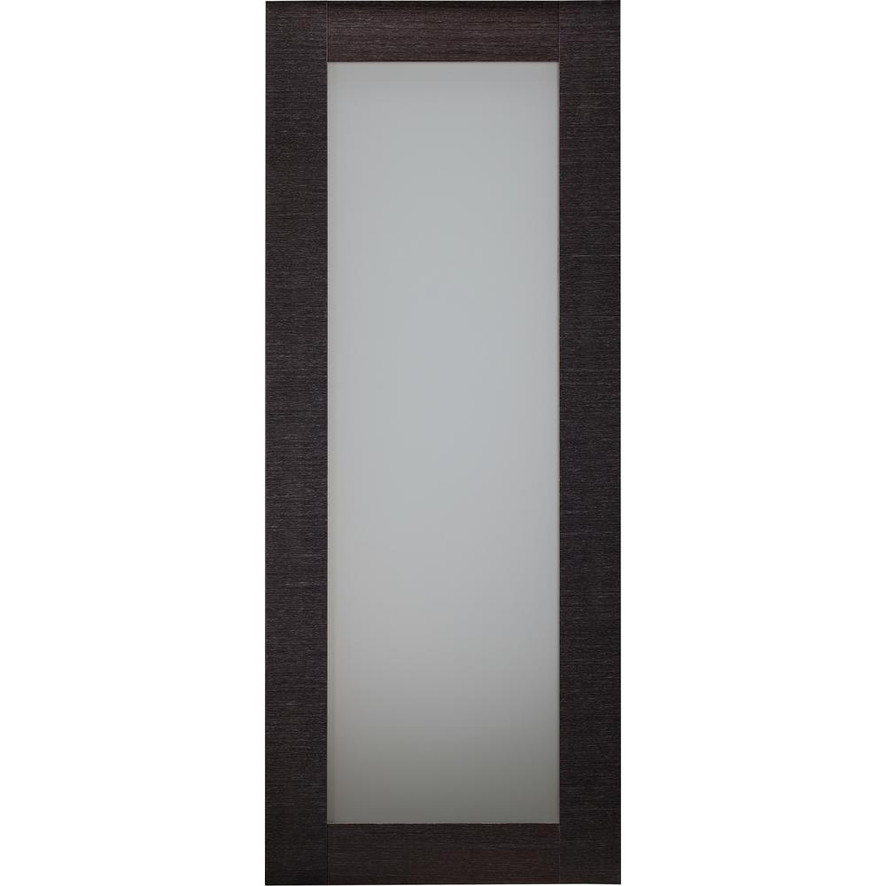 Belldinni 24 in. x 80 in. Avanti 207 Black Apricot Finished Solid Core Wood 1-Lite Frosted Glass