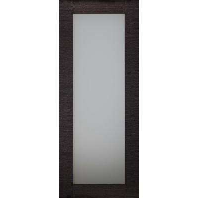 28 in. x 80 in. Avanti 207 Black Apricot Finished Solid Core Wood 1-Lite Frosted Glass Interior Door Slab No Bore