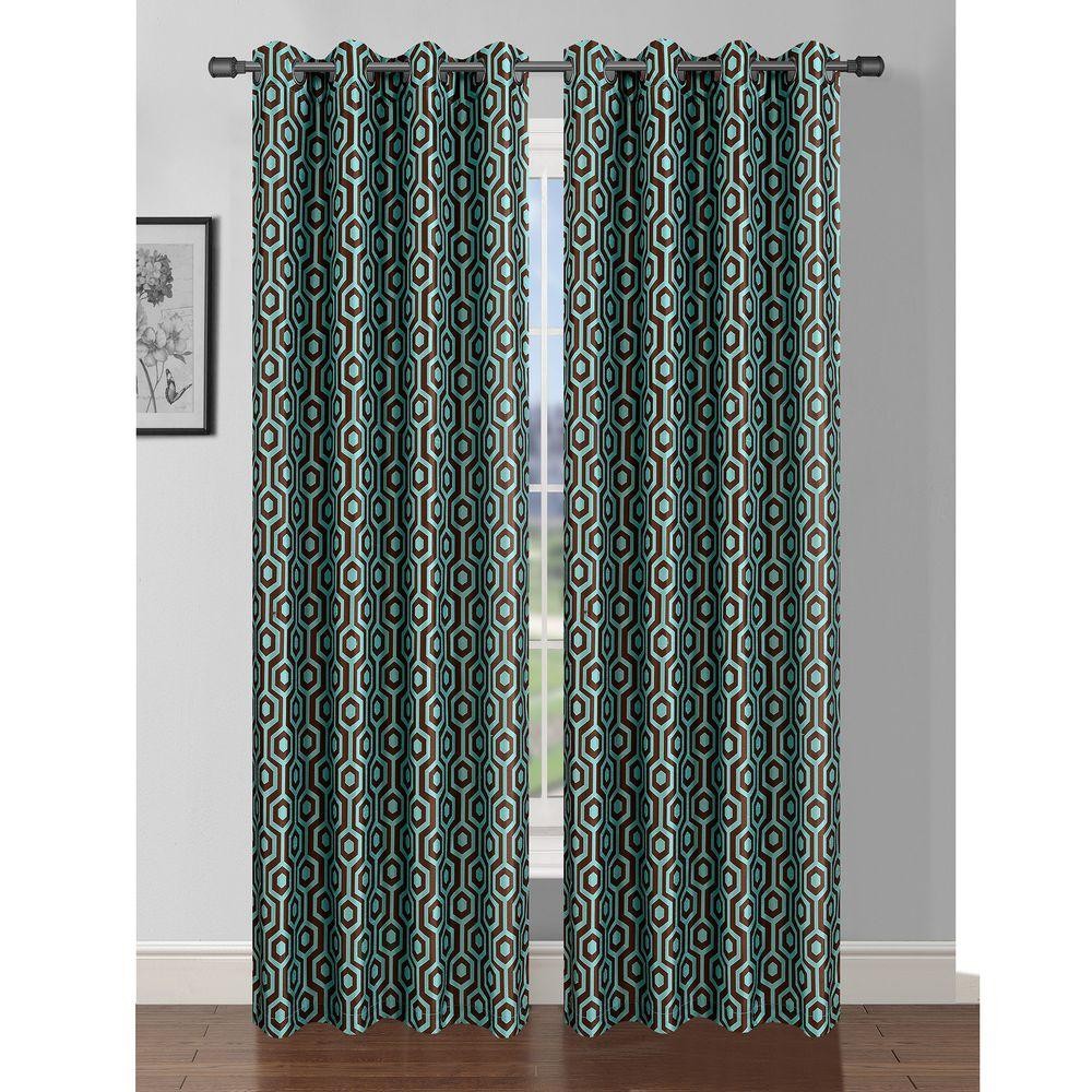 Window Elements Semi-Opaque Camille Printed Faux Silk 84 in. L Grommet Curtain Panel Pair, Turquoise/Chocolate (Set of 2)