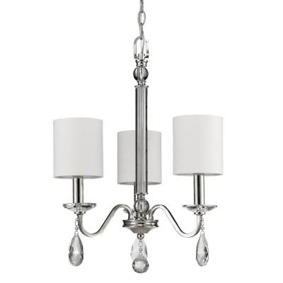Lily 3-Light Indoor Polished Nickel Mini Chandelier with Shades and Crystal Pendants