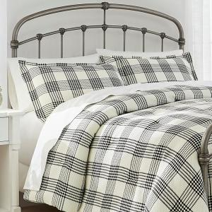 Adderley 3-Piece Black and White Plaid Full/Queen Comforter Set