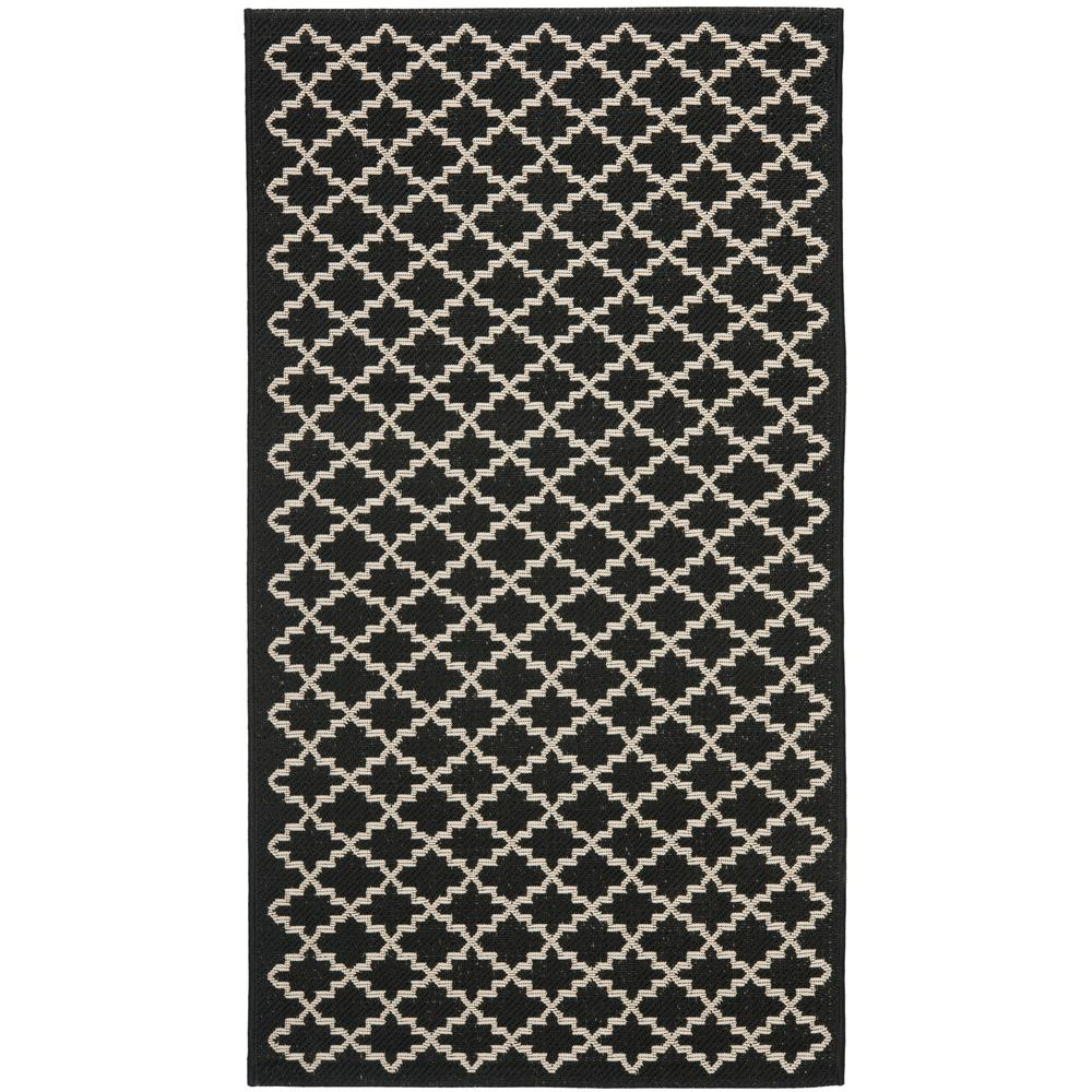 Safavieh Courtyard Black/Beige 3 ft. x 5 ft. Indoor/Outdoor Area Rug