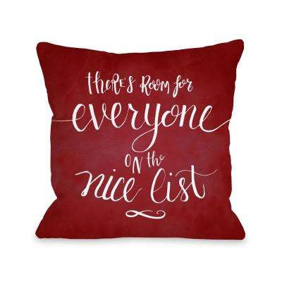 Nice List 16 in. x 16 in. Decorative Pillow