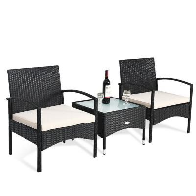 Costway Black 3 pc Rattan Wicker Patio Conversation Set Table and 2 Chair w/ Beige Cushions