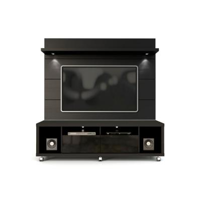 Cabrini 71 in. Black Engineered Wood Entertainment Center with 2 Drawer Fits TVs Up to 60 in. with Wall Panel