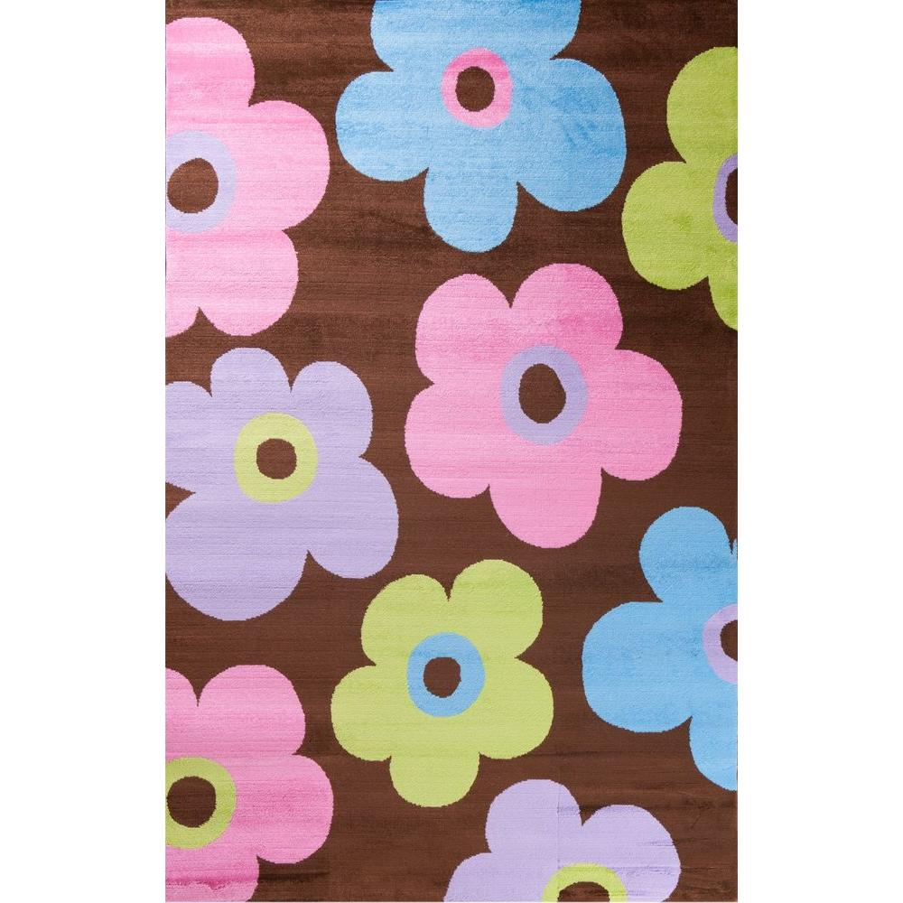 Alisa Groovy Flowers Brown 2 ft. 7 in. x 4 ft.