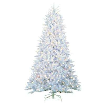 7.5 ft. Indoor Pre-Lit LED White Parkview Pine Artificial Christmas Tree with 600 UL Color Changing Lights