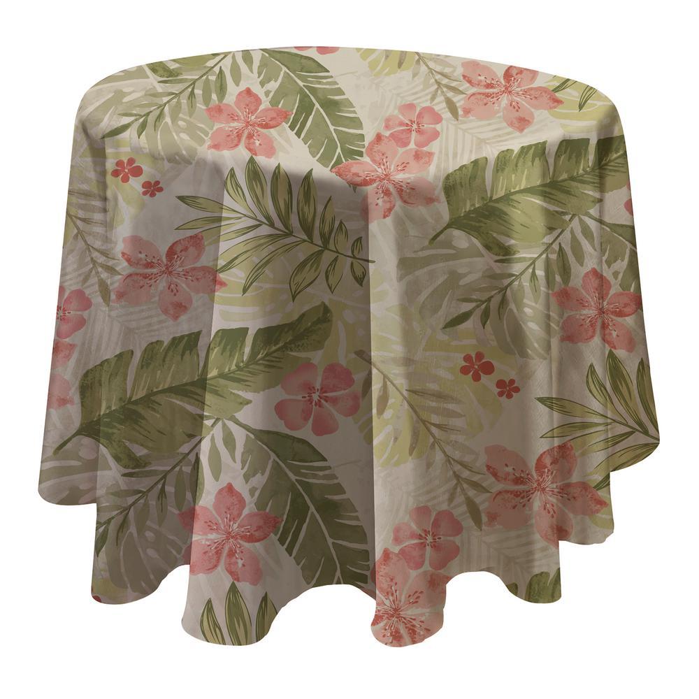 Tropics 70 inch W x 70 inch L Multi Round Single Vinyl Tablecloth by