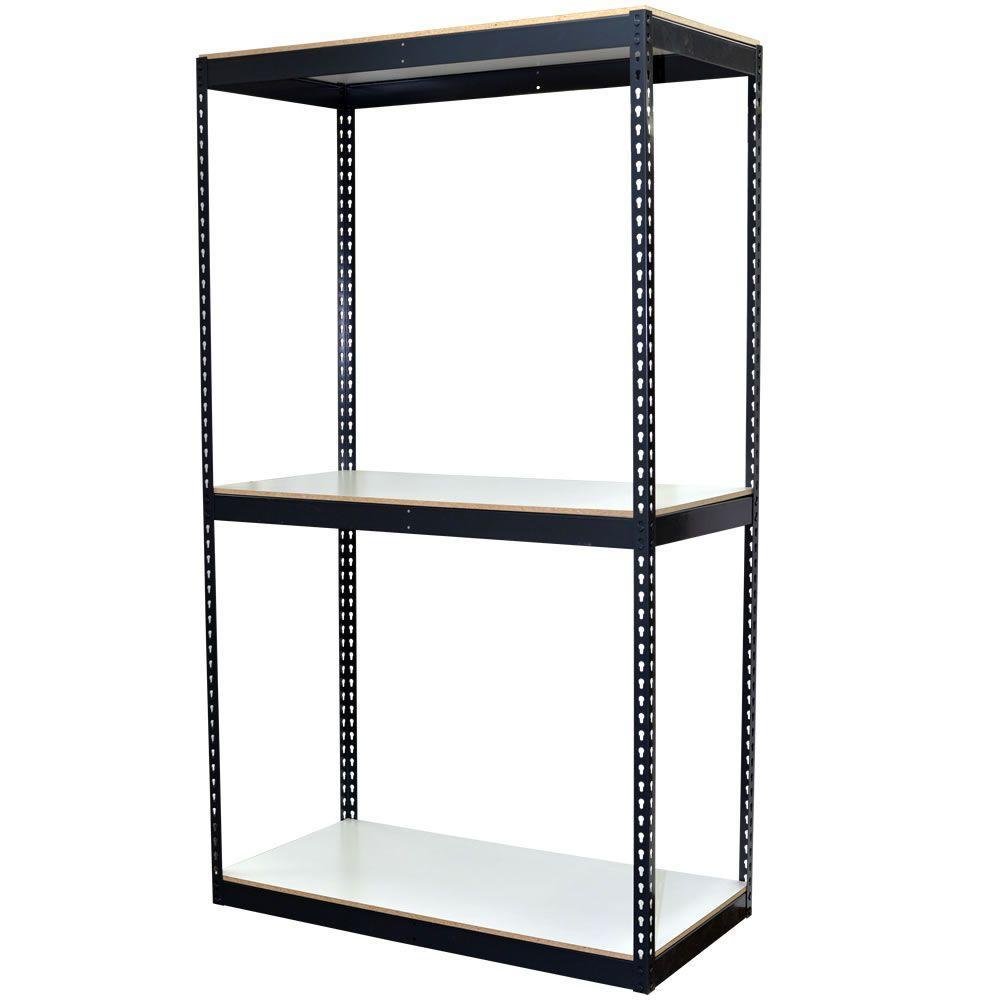 96 in. H x 48 in. W x 24 in. D 3-Shelf Bulk Storage Steel Boltless Shelving Unit w/Double Rivet Shelves & Laminate Board