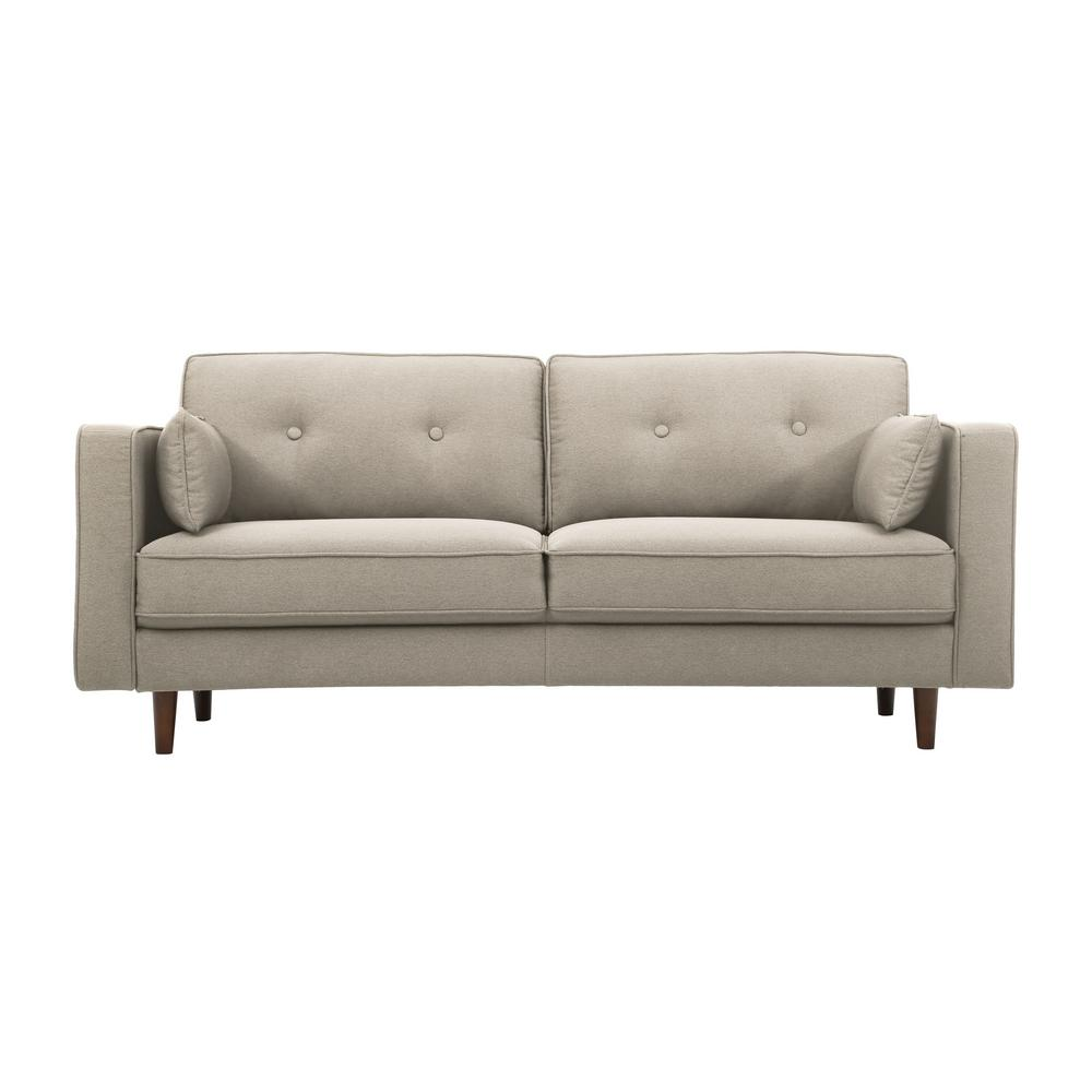 Lifestyle solutions tucson taupe mid century modern sofa