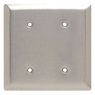 302 Series 2-Gang Blank Wall Plate in Stainless Steel