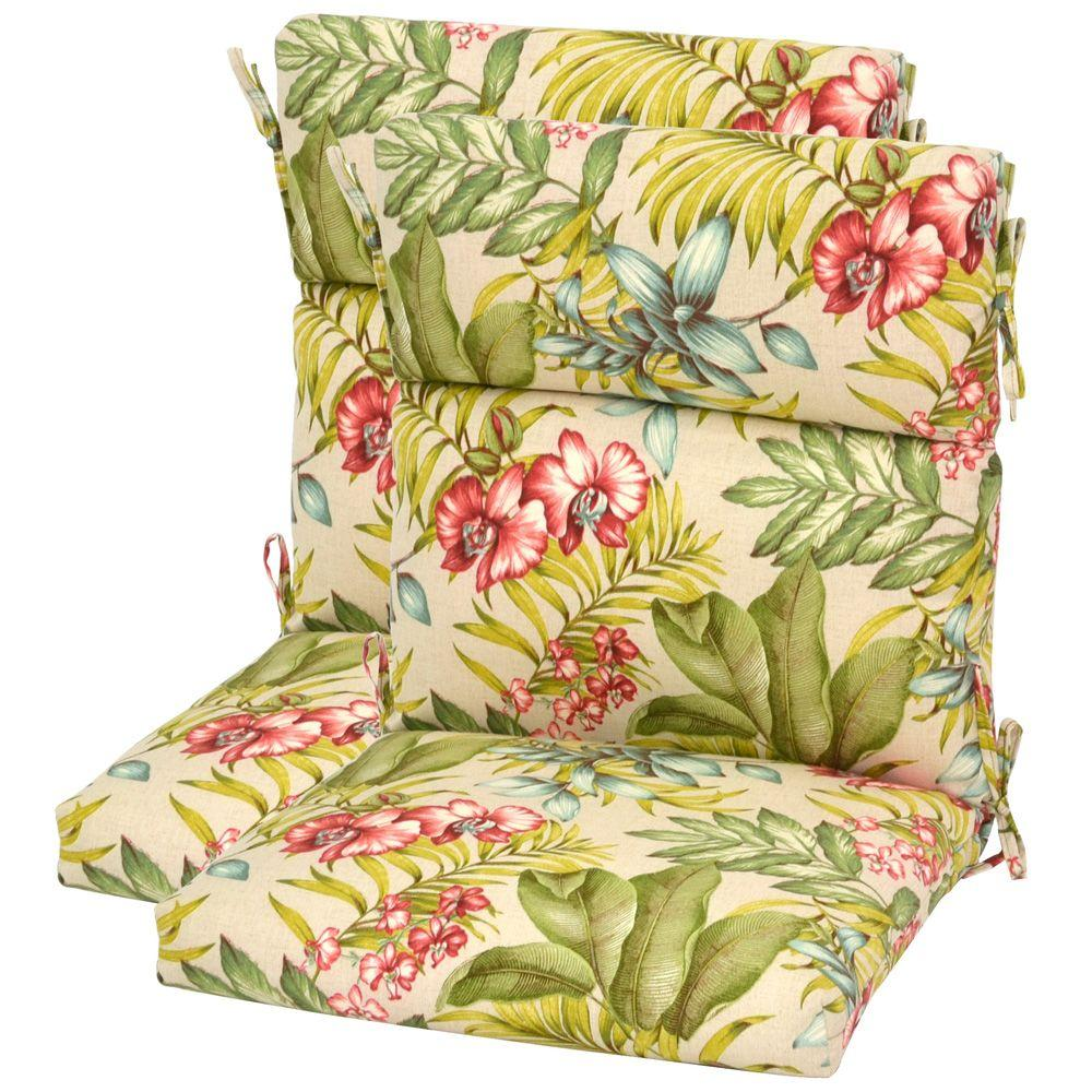 Plantation Patterns Santa Cruz Tropical High Back Outdoor Chair Cushion (2-Pack)-DISCONTINUED