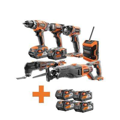 18-Volt Lithium-Ion Cordless Combo Kit (6-Tool) (2) 4Ah Batt and Charger w/Bonus (4) 4.0 Ah Lithium-Ion Batteries