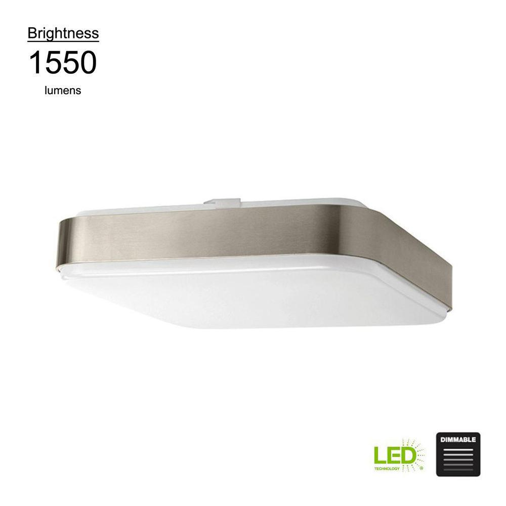 Modern Style 14 in. Square Brushed Nickel 100 Watt Equivalent Integrated