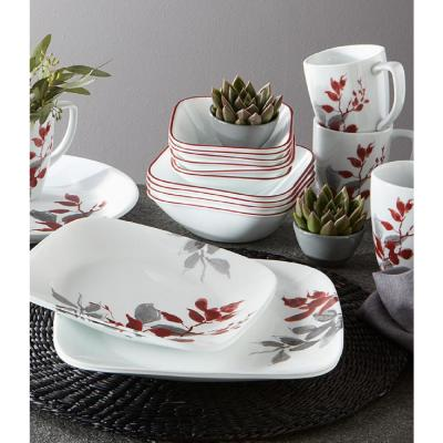 Boutique Kyoto Leaves 42-Piece Asian Inspired Kyoto Leaves Stoneware Dinnerware Set (Service for 8)