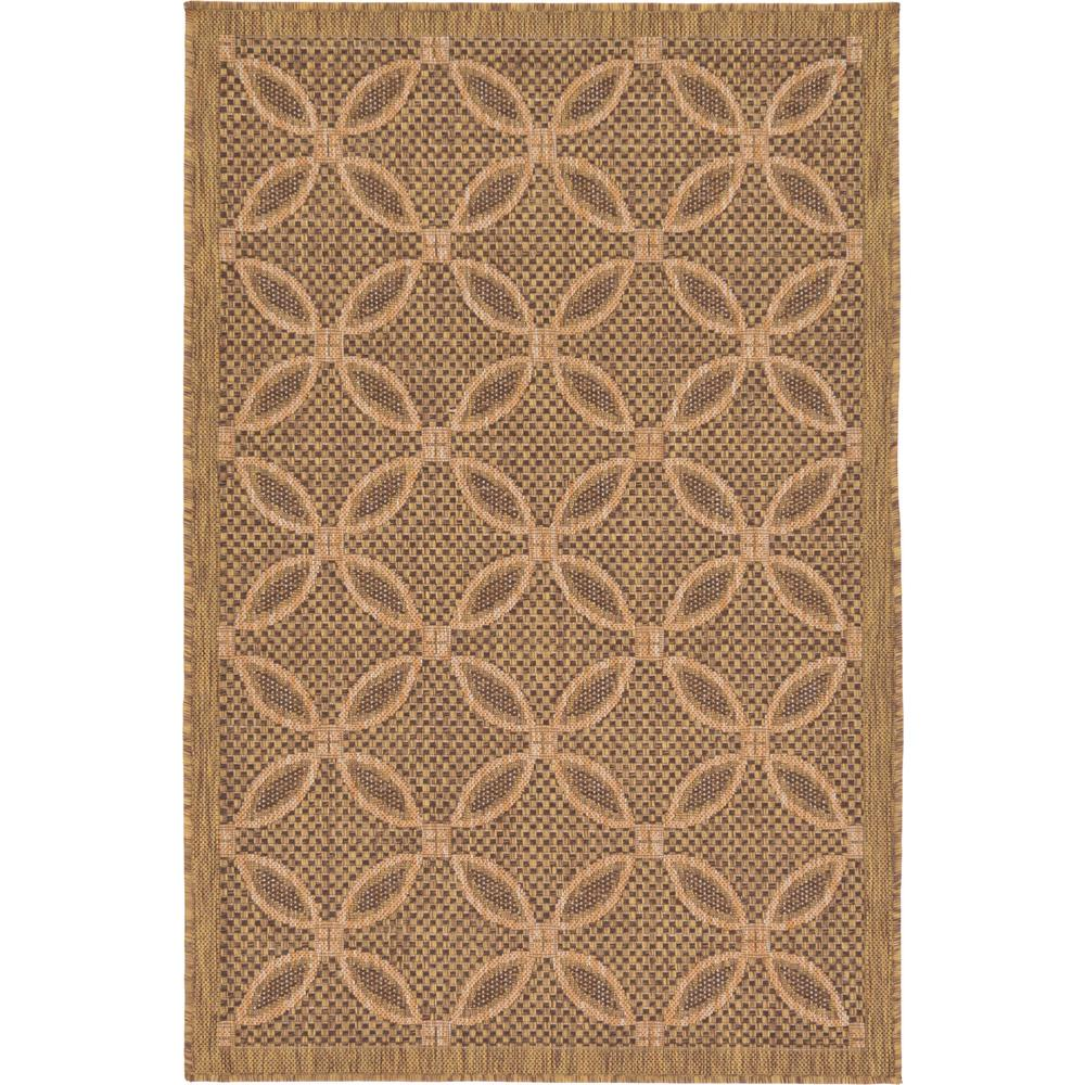 Unique Loom Outdoor Light Brown 3 3 X 5 Indoor Outdoor Rug 3127212