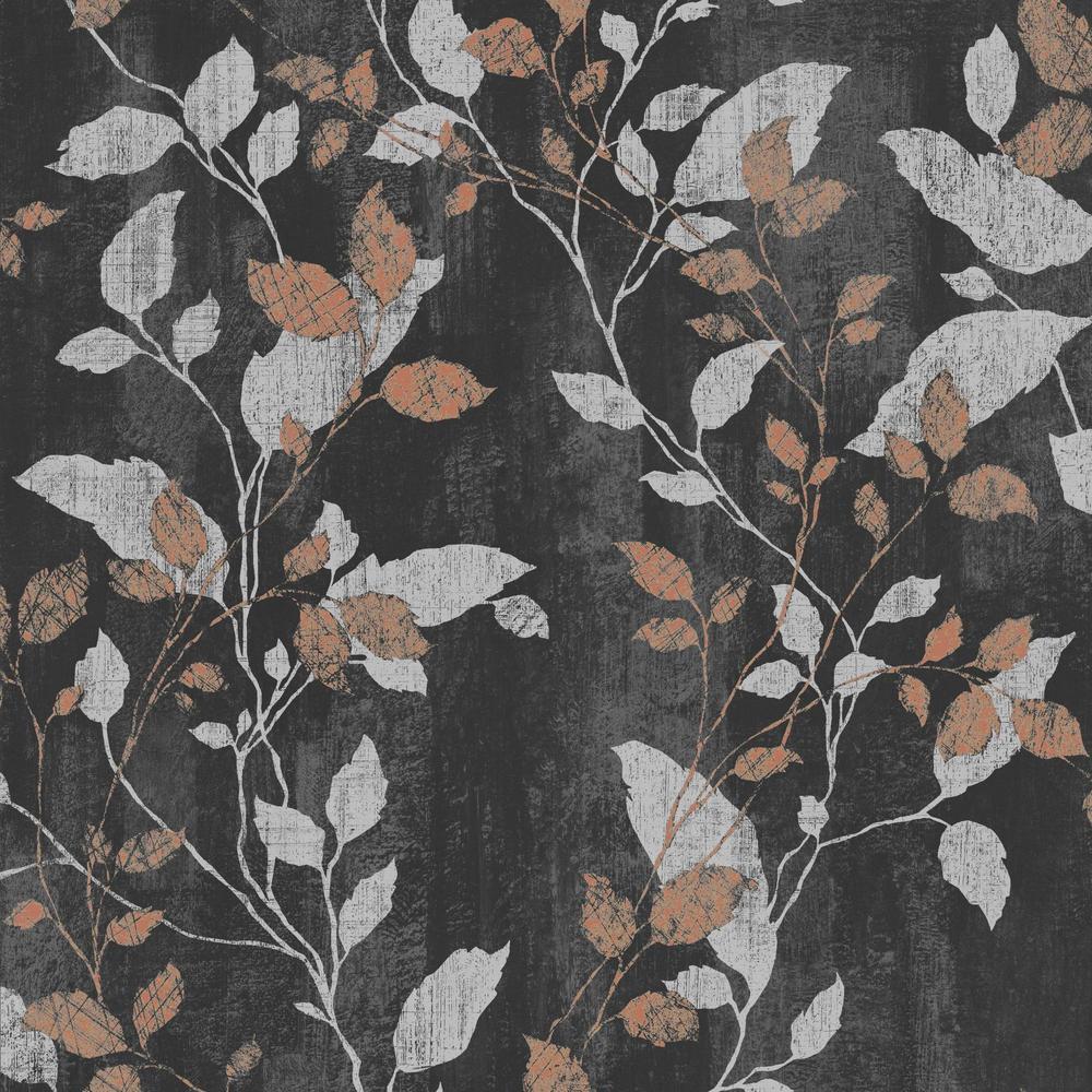 Vermeil Leaf Black, Silver and Copper Removable Wallpaper Sample