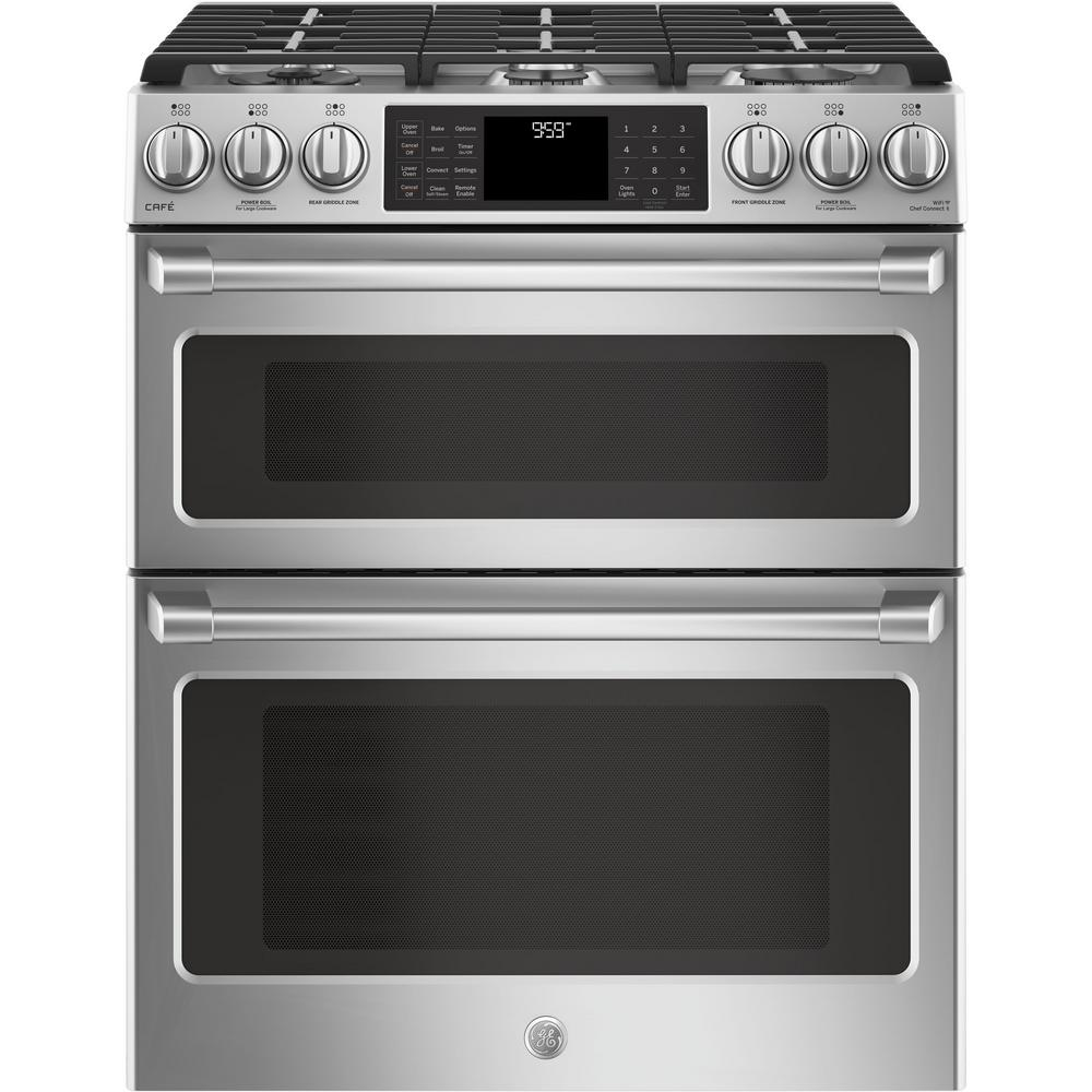 Cafe Cafe 6.7 cu. ft. Slide-In Double Oven Smart Gas Range with Self-Cleaning Convection Oven in Stainless Steel, Silver