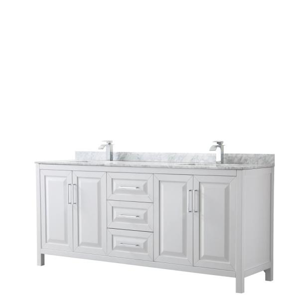 Daria 80 in. Double Bathroom Vanity in White with Marble Vanity Top in Carrara White with White Basin