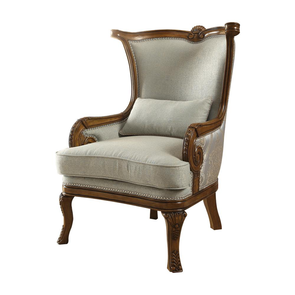 Accent Chairs.Darian Light Blue Fabric And Brown Accent Chair