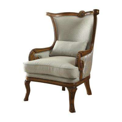 Darian Light Blue Fabric and Brown Accent Chair