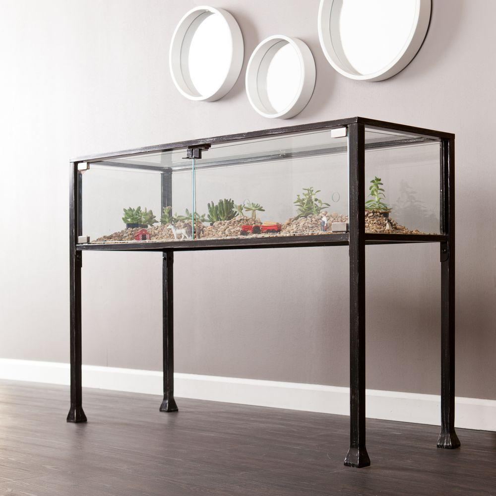 Gentil Southern Enterprises Black And Distressed Silver Terrarium Console Table