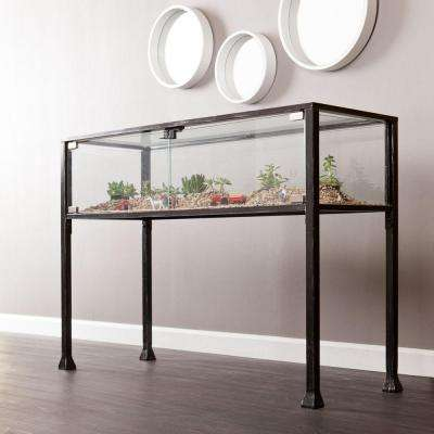 Black and Distressed Silver Terrarium Console Table