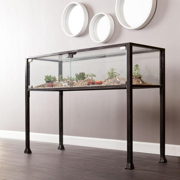 Southern Enterprises Black and Distressed Silver Terrarium Console Table