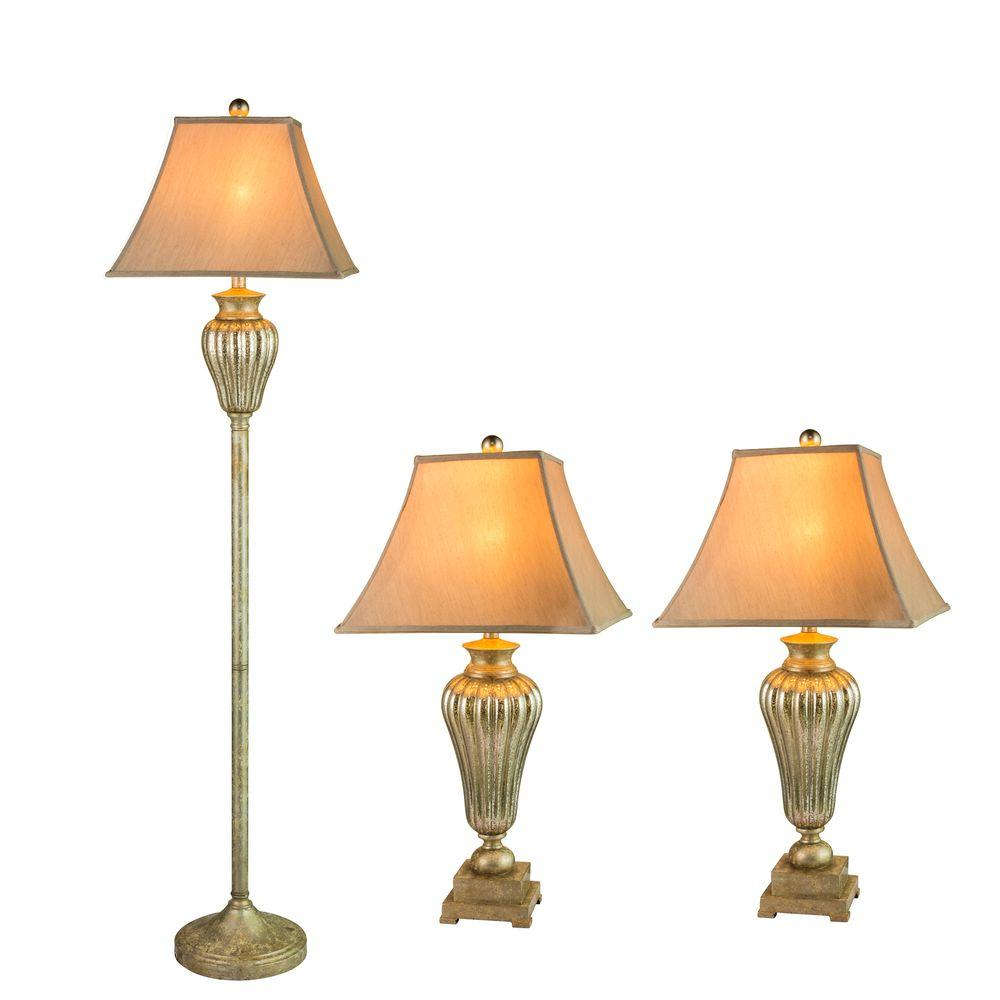 63.5 in. Silver Metal and Glass Lamp Set (3-Piece)