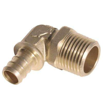 1/2 in. PEX Barb x MIP Brass 90-Degree Elbow Fitting