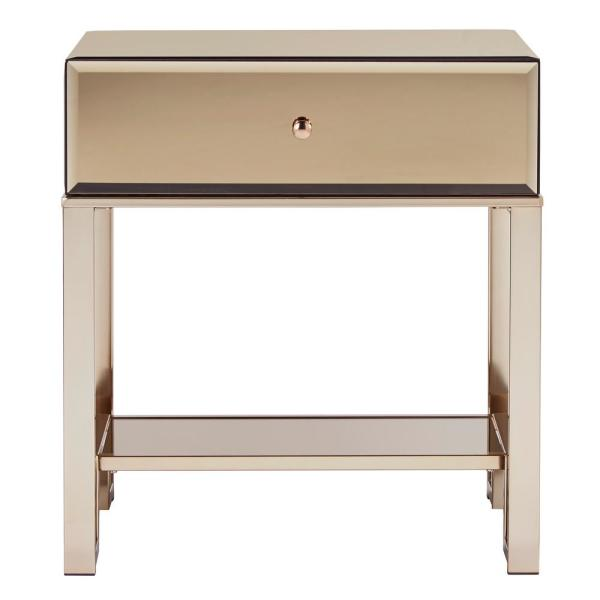 HomeSullivan Champagne Gold Mirrored Metal End Table with Drawer 40E435-4BS(3A)