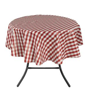Round Indoor And Outdoor Red Checkered Design Tablecloth For Dining Table TBL1056 Round    The Home Depot