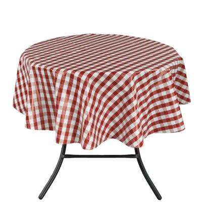 55 in. Round Indoor and Outdoor Red Checkered Design Tablecloth for Dining Table