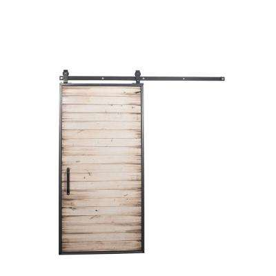 42 in. x 84 in. Mountain Modern White Wash Wood Barn Door with Mountain Modern Sliding Door Hardware Kit