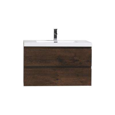 Bohemia 36 in. W Bath Vanity in Rosewood with Reinforced Acrylic Vanity Top in White with White Basin