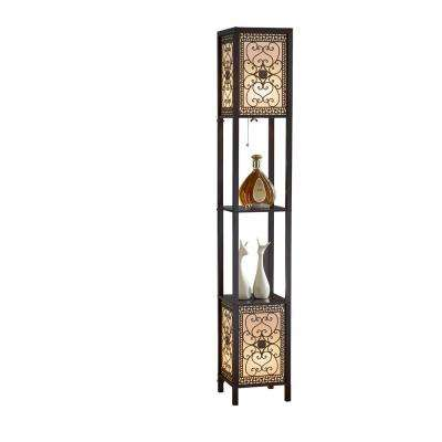 Infinity Heart Shelf Floor Lamp 64 in. Expresso