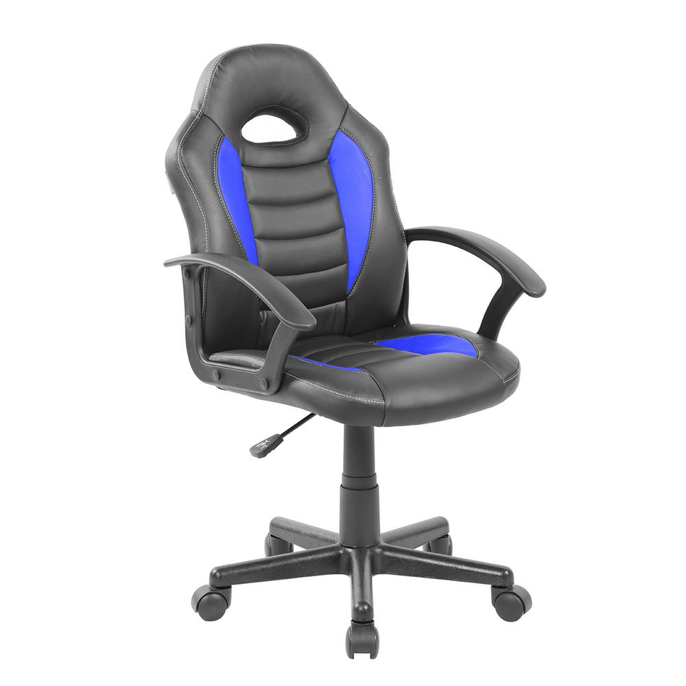 Blue Kid's Gaming and Student Racer Chair with Head Support