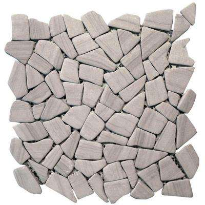 Haisa Marble Dark 12 in. x 12 in. x6.35 mm Natural Stone Irregular Mesh-Mounted Mosaic Floor & Wall Tile (10sq.ft./case)