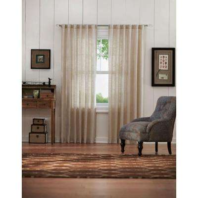 Semi-Opaque Taupe Faux Linen Back Tab Curtain