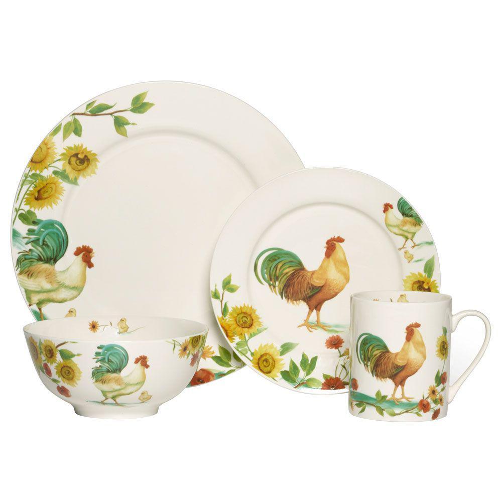 16-Piece Rooster Meadow Dinnerware Set