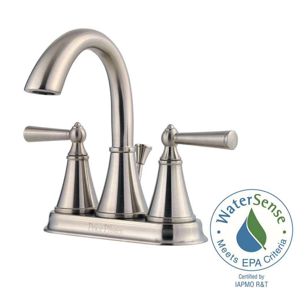 Pfister Saxton 4 in. Centerset 2-Handle High-Arc Bathroom Faucet in Brushed Nickel