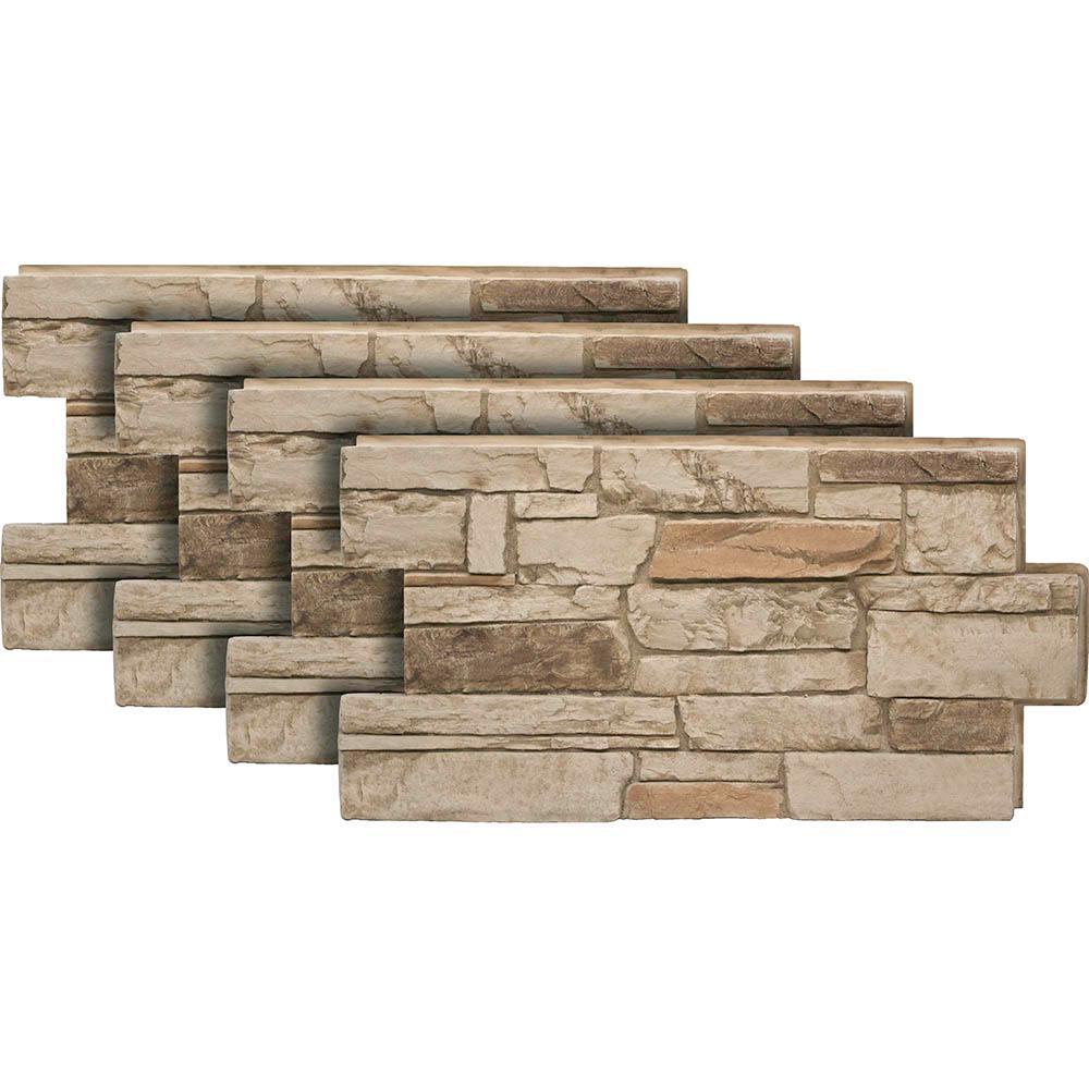 Ledgestone Desert Tan 24 in. x 48 in. Stone VeneerSiding Panel (4-Pack)
