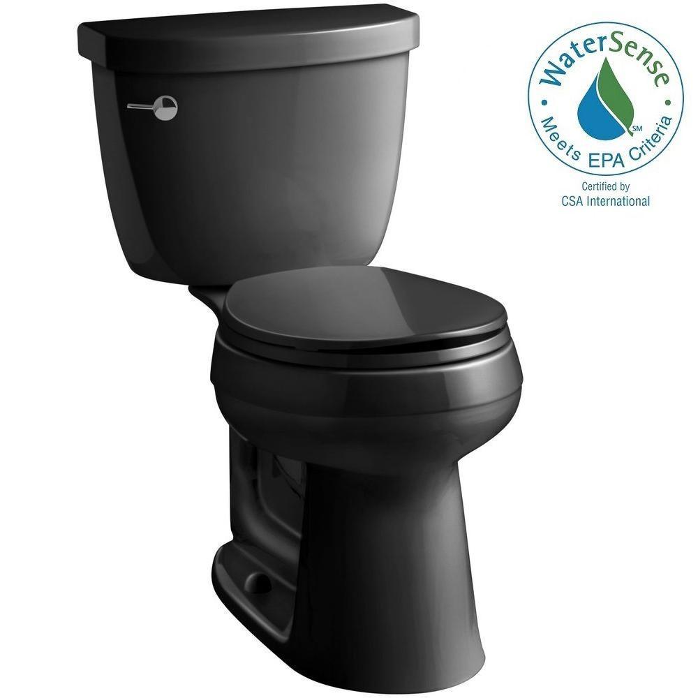 Cimarron Comfort Height 2-piece 1.28 GPF Round Toilet with AquaPiston Flush Technology in Black Black