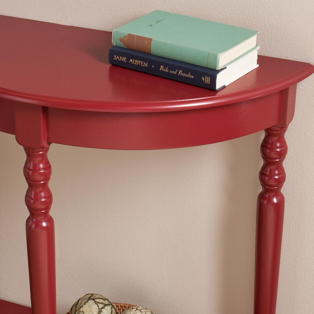 Prime Southern Enterprises Doretta Demilune Red Console Table Interior Design Ideas Clesiryabchikinfo